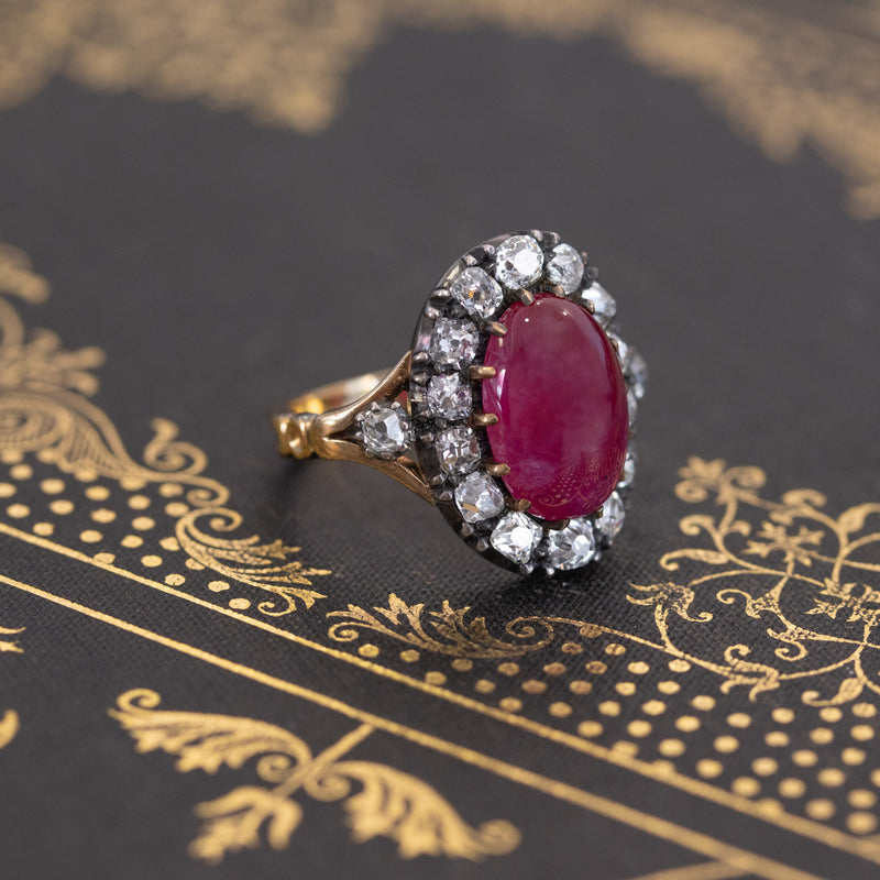 Victorian No-heat Ruby and Diamond Cluster Ring, AGL