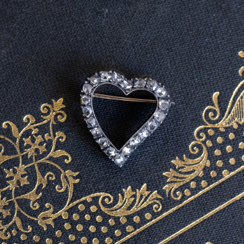 Victorian Rose Cut Witches Heart Pin