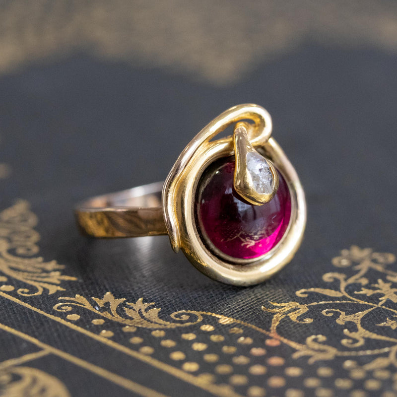Victorian Garnet and Rose Cut Diamond Serpent Ring