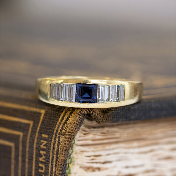 .92ctw Vintage Cartier Sapphire & Step Cut Diamond Band