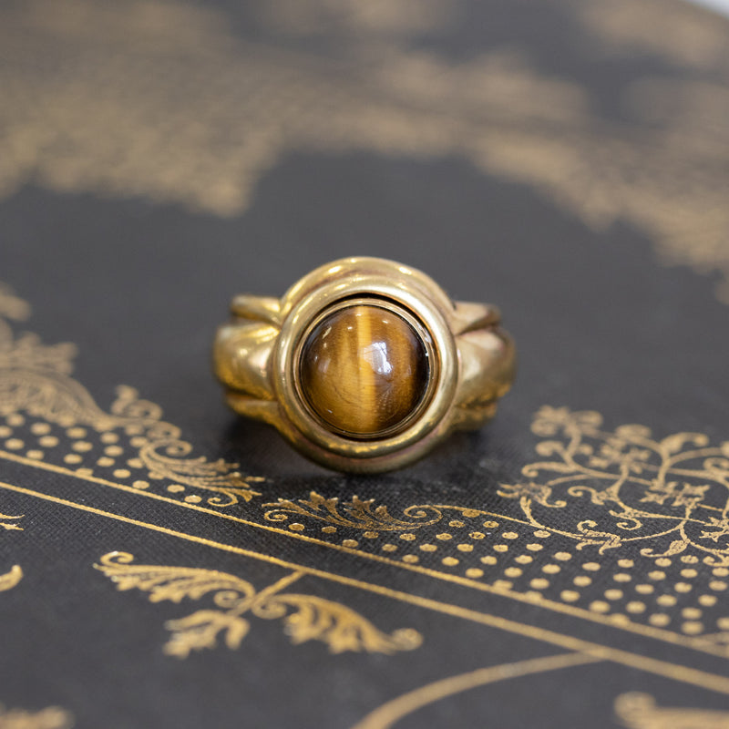 Vintage Piaget Conversion Ring, Onyx, Gold, and Cat's Eye