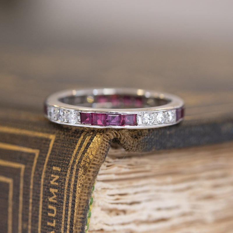 1.35ctw Vintage Tiffany & Co. Ruby and Diamond Eternity Band, Size 6