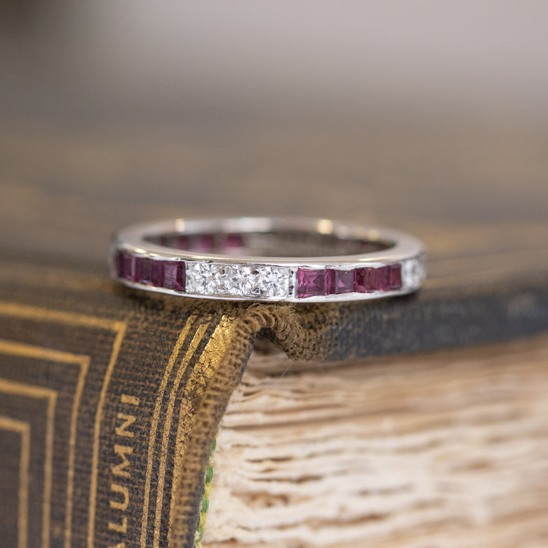 1.35ctw Vintage Tiffany & Co. Ruby and Diamond Eternity Band, Size 5.5