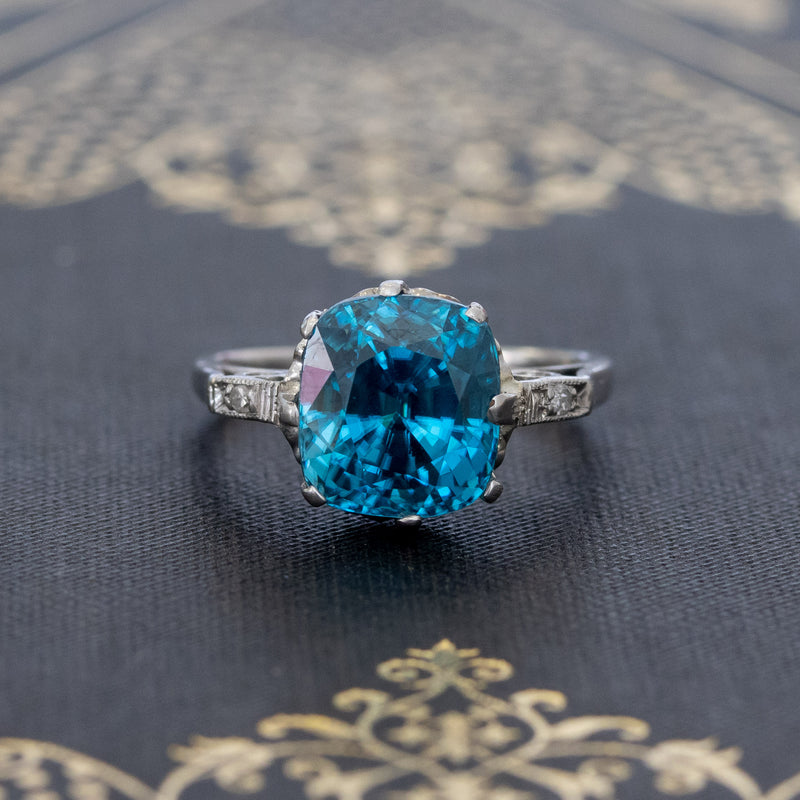 7.53ct Vintage Zircon Solitaire Ring