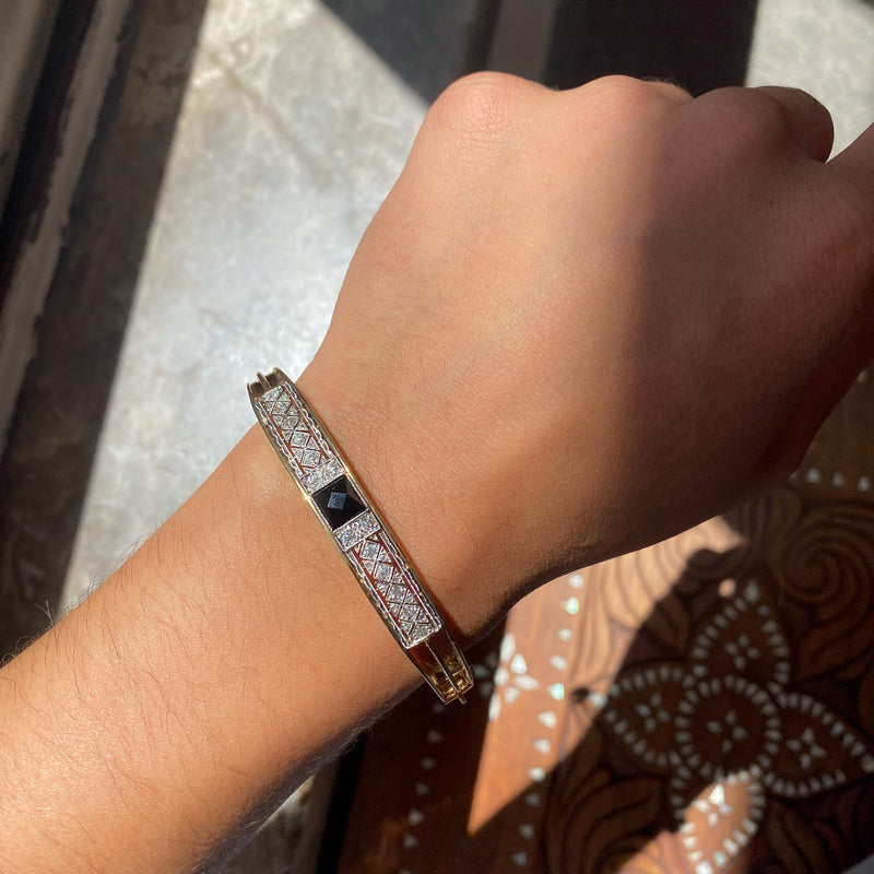 Vintage Onyx and Antique Diamond Bangle