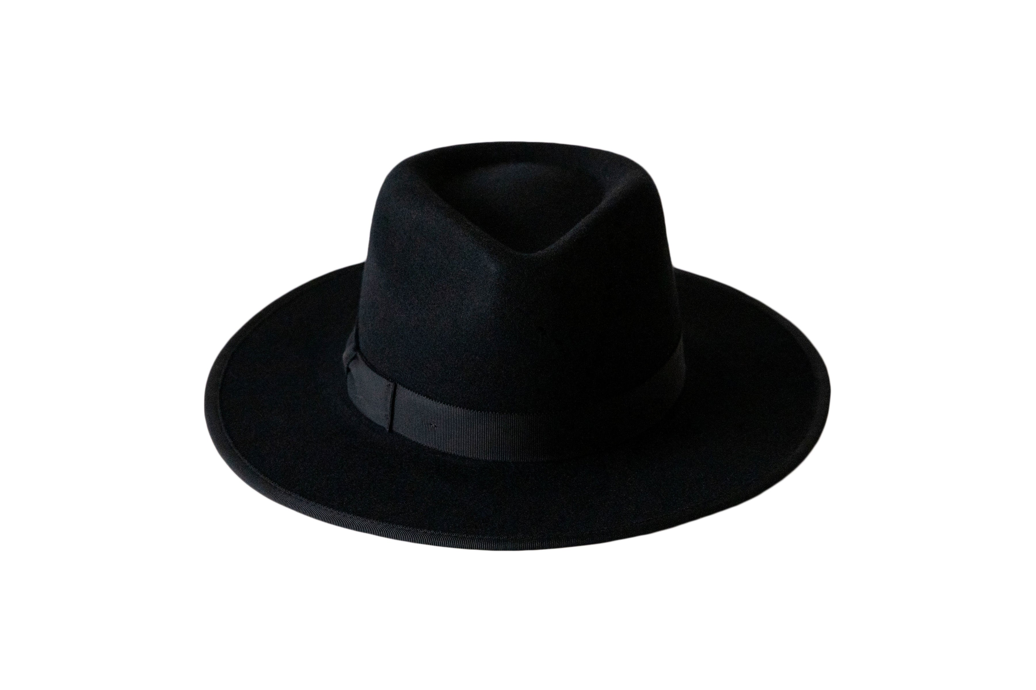 The Mick is a women's stiff black fedora with a black grosgain ribbon trimmed on the crown and the brim, detailed with a bow on the crown.