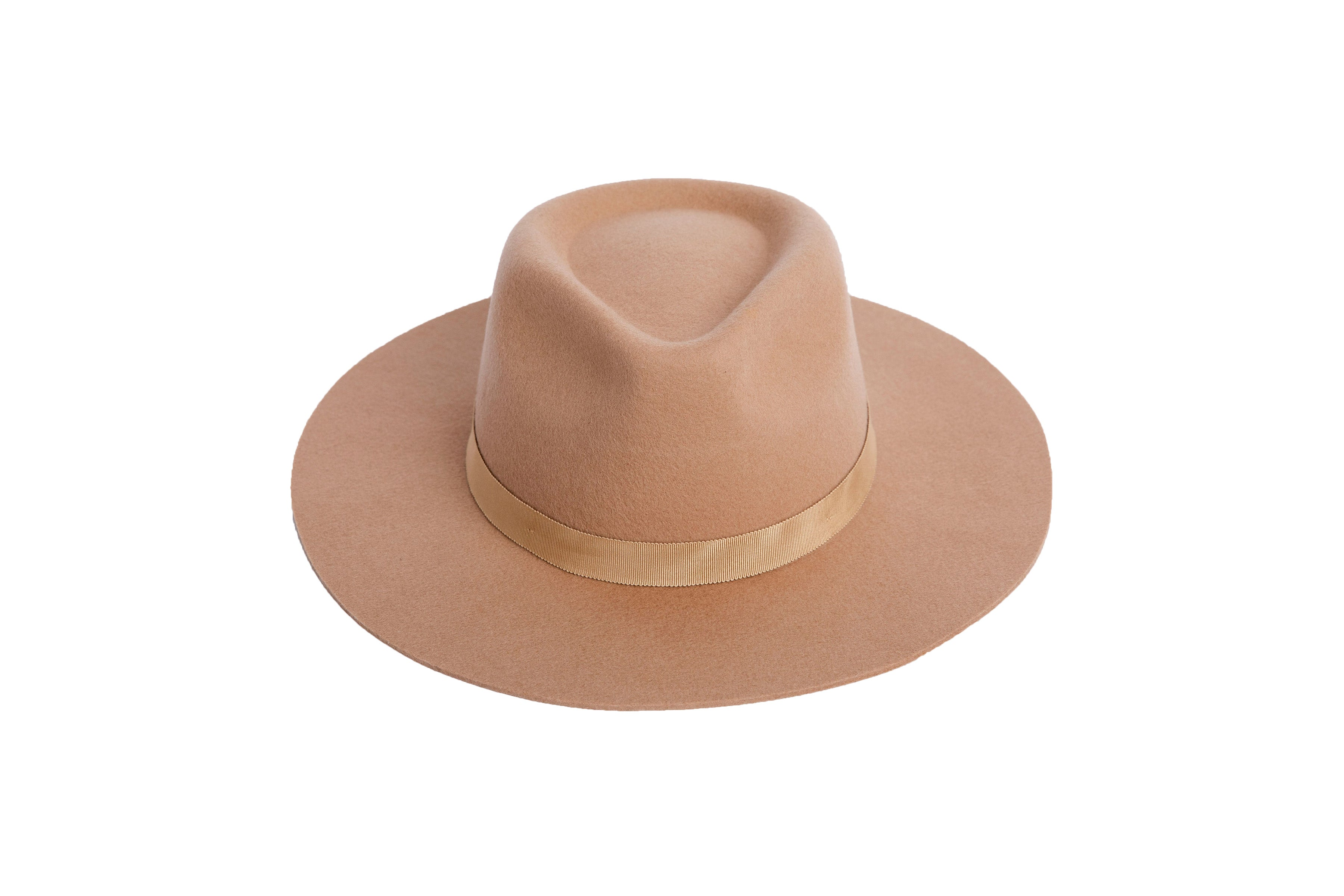 The Chloe is a women's stiff tan fedora with a tonal grosgain ribbon trimmed on the crown.