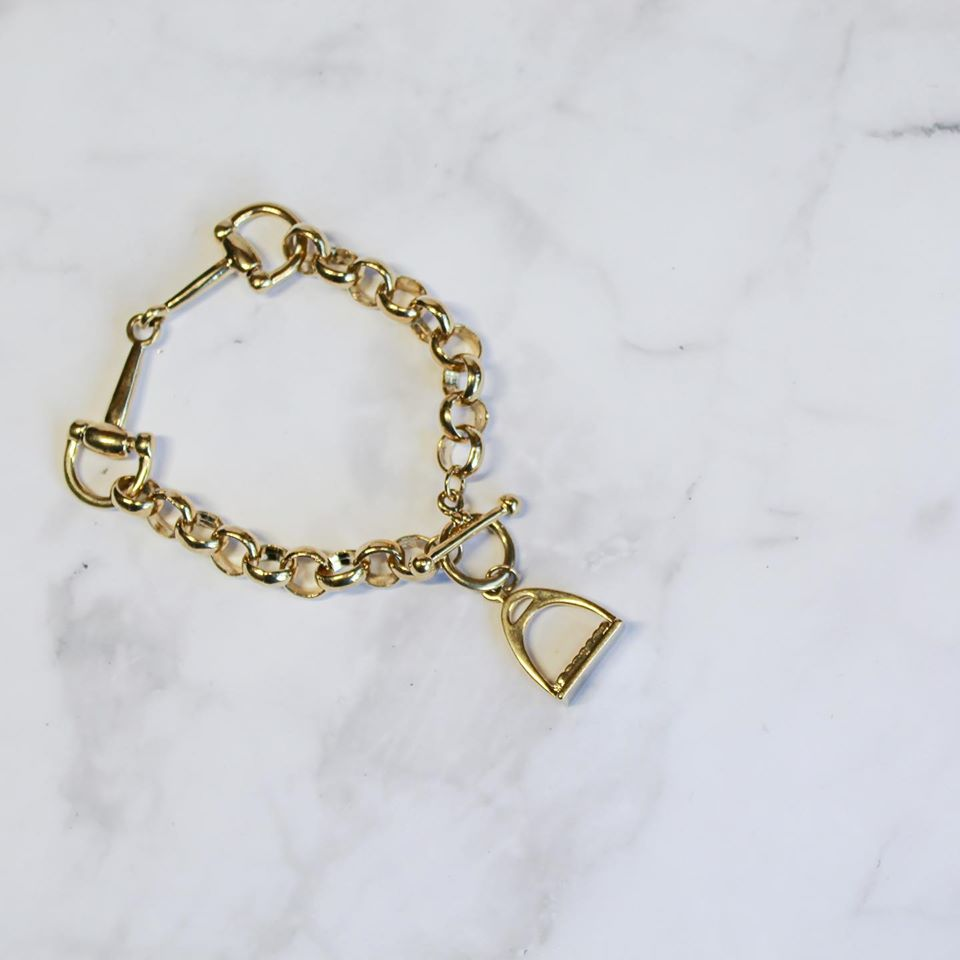 Gold Snaffle And Stirrup Bracelet.