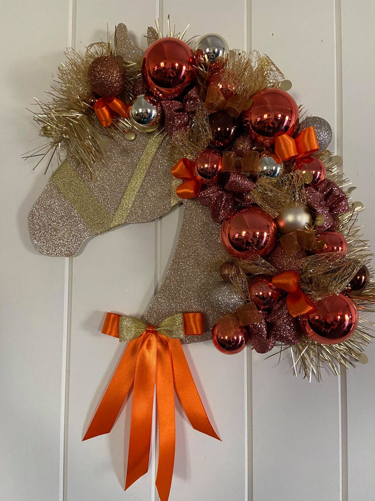 Horse Head Xmas Decoration- Burnt Orange