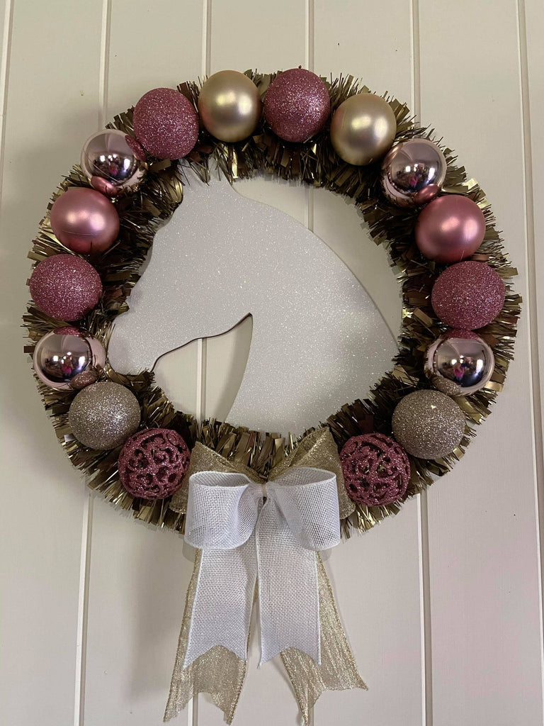 Pink and Gold Xmas Horse Head Wreath