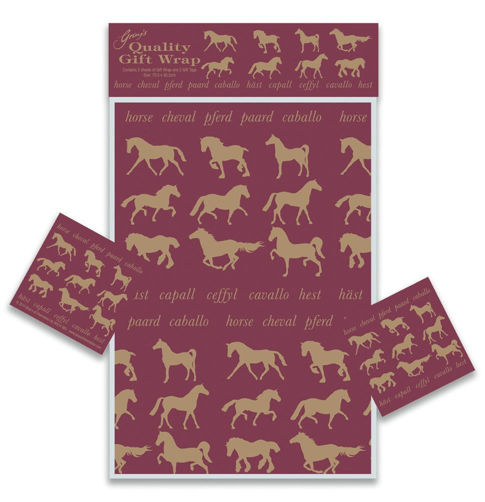Maroon & Gold Horse Gift Wrapping Paper