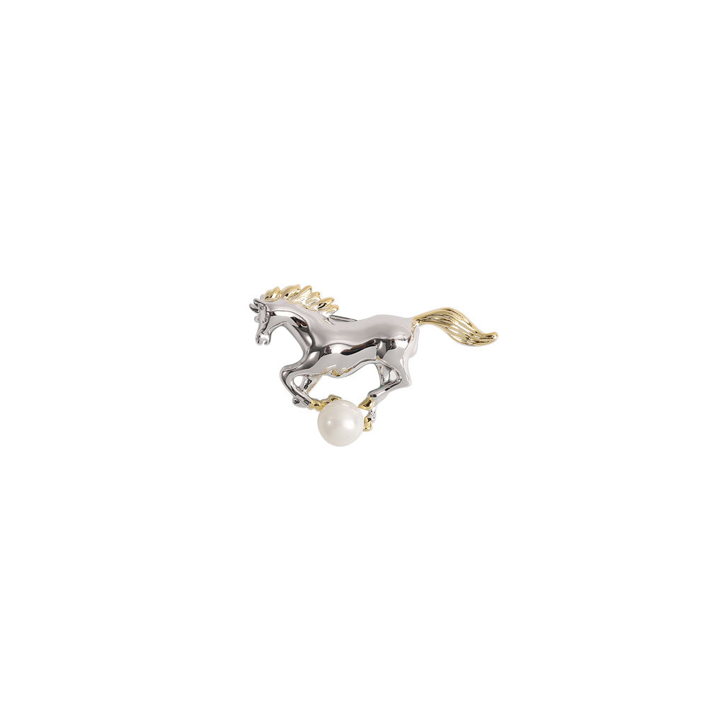 Silver & Gold Horse  Brooch