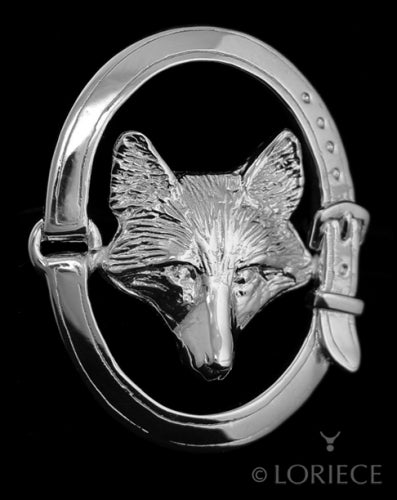 Fox Mask Oval Brooch