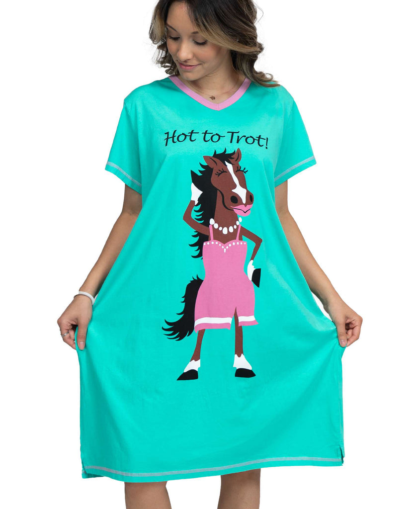 Hot to Trot Women's Horse V-neck Nightshirt
