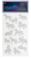 Metallic Silver Horse Stickers