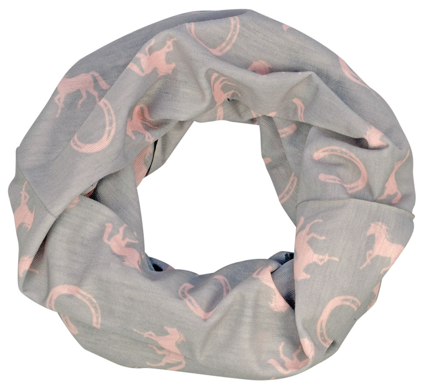 Multifunctional Headwear - Horses Pink & Grey