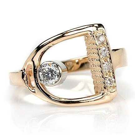 Stirrup Ring with Diamond