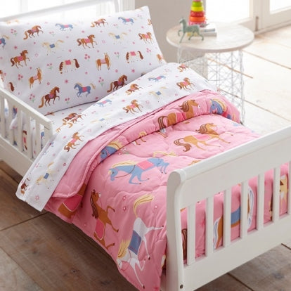 Horses 4 Piece Toddler Bed Set
