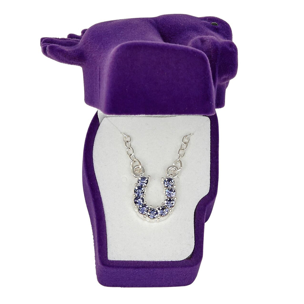 Purple Horse Shoe Necklace in Gift Box