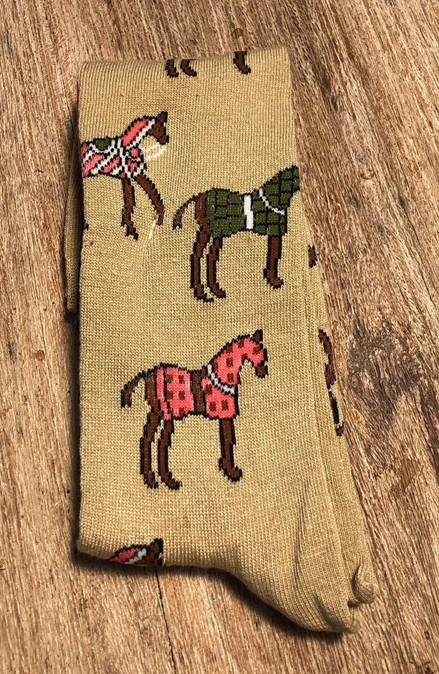 Horses In Blankets Socks Single Pair