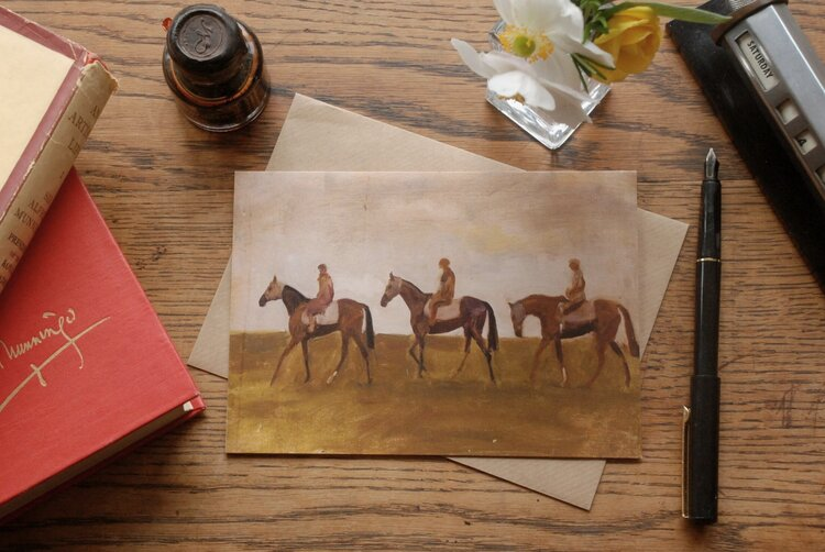 Note Card  - Study Of Horse and Riders