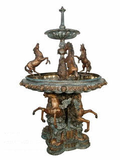 Bronze 2 Tiered Rearing Horses Fountain Statue
