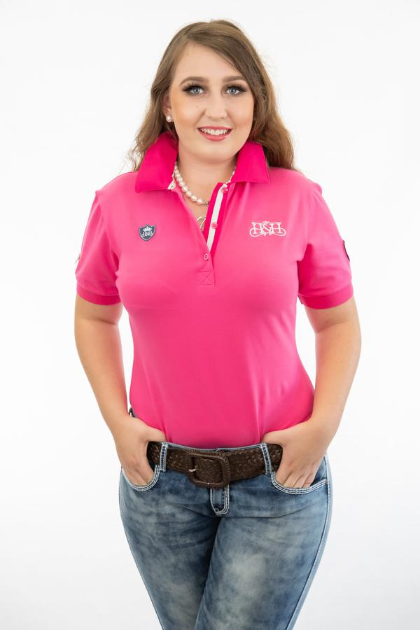 Hot Pink & White Fitted Polo