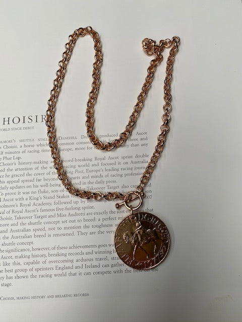 Queen Elizabeth Jubilee Coin Necklace - Rose Gold