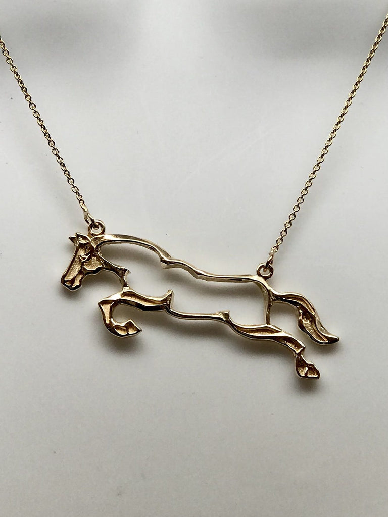 Gold Hunter Jumper Outline Necklace