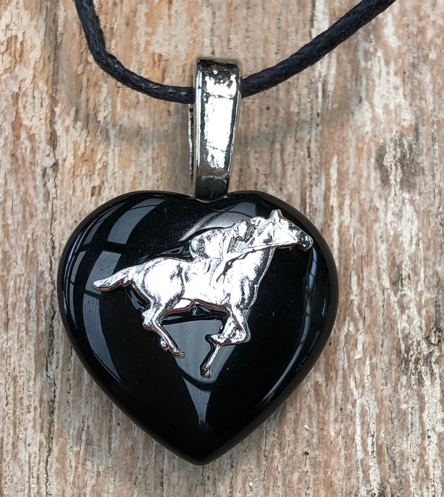 Black Onyx Racehorse  Necklace