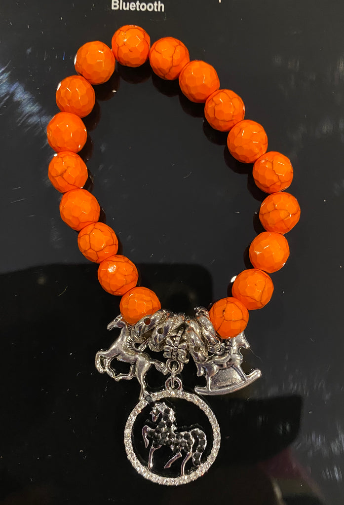 Orange Bracelet  with  Sparkly Black Horse