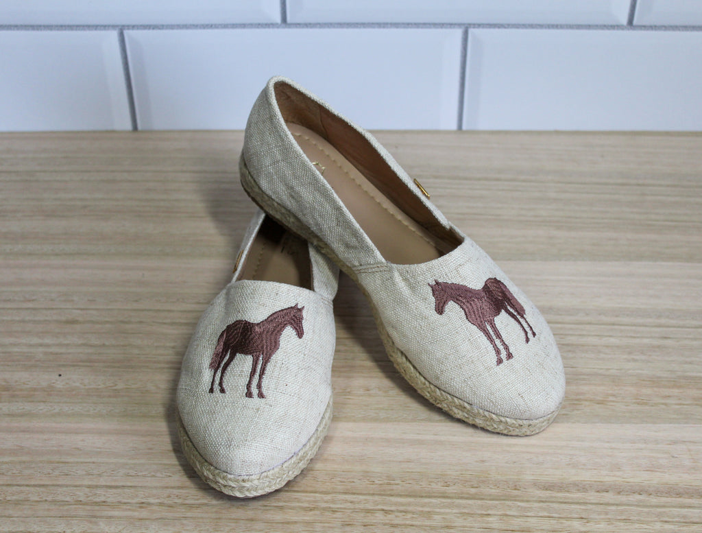 Equine Women's Loafer - Linen with Taupe horse