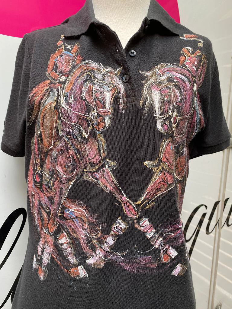 Hand Painted Polo Shirt Dressage Design