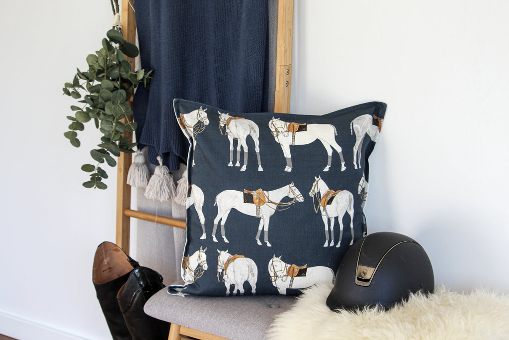 Polo Ponies Cushion - Navy