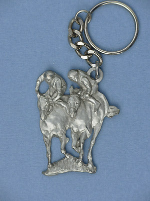 Two Racehorses Key Ring