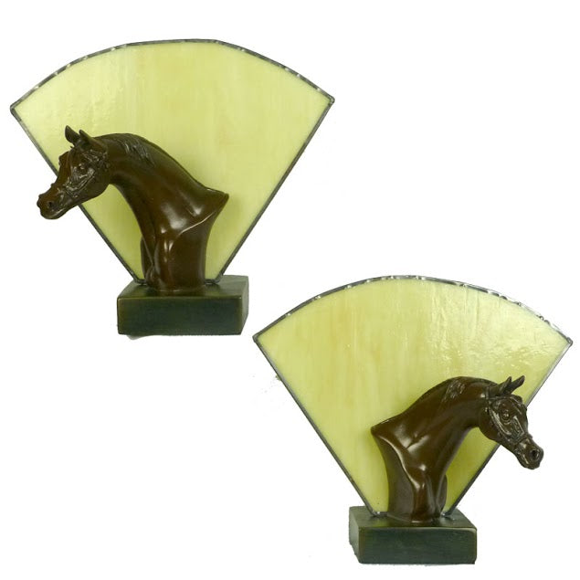 Pair Of Horse Head Lamps