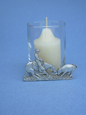 Cutting Horse & Cow 2 piece Votive Holder
