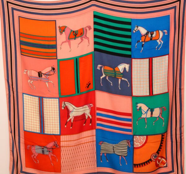 Horses in Squares  Scarf  Blue