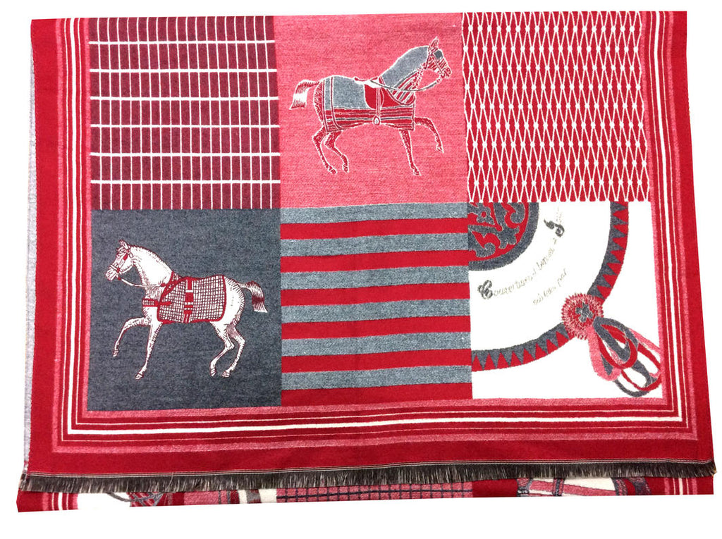 Horse Patch Scarf - Red/Grey