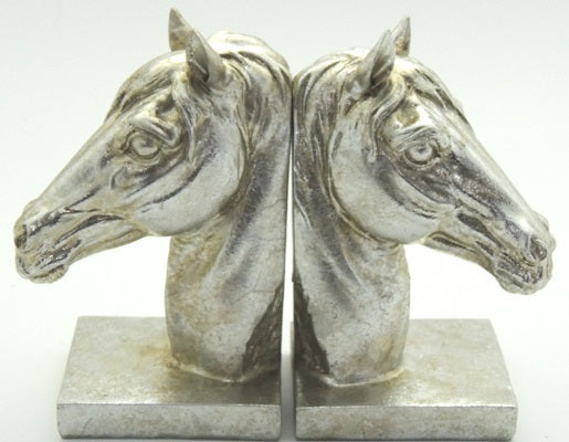 Silver Horse Head Book Ends