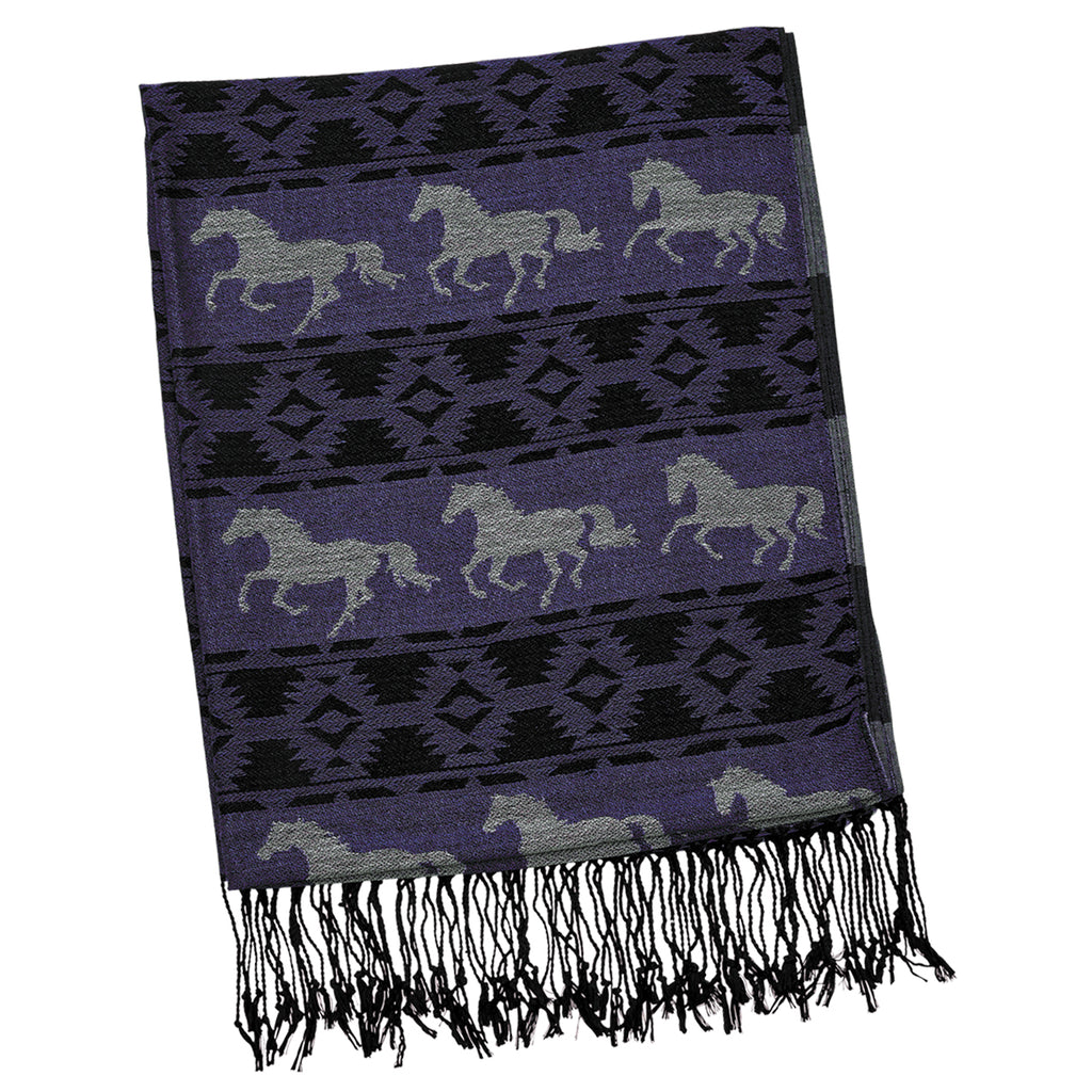 Purple Horse Themed Pashmina Scarf