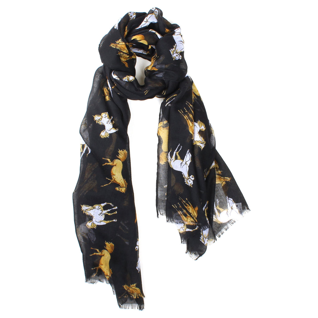 Black Scarf with Tan and White Horses