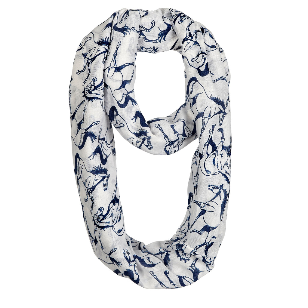 Ivory and Blue Horse Infinity Scarf