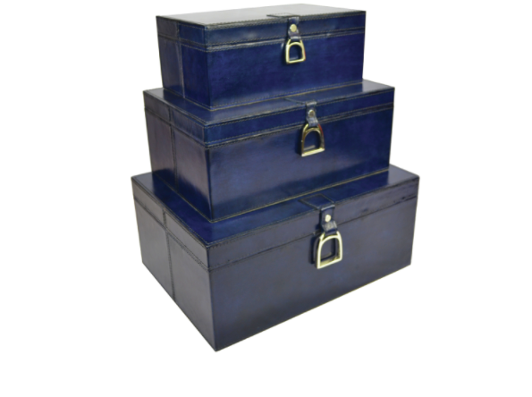 Set Of 3 Leather Stirrup Box Set - Blue
