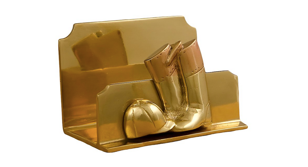 Brass Riding Boot Napkin / Letter Holder