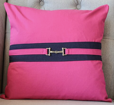Snaffle Bit Cushion Cover - Navy /Pink