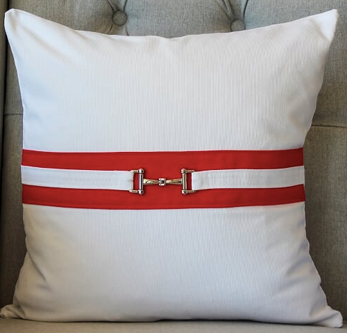 Snaffle Bit Cushion Cover - Red /White