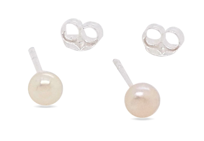 Sterling Silver Fresh Water Pearl Studs - 2mm
