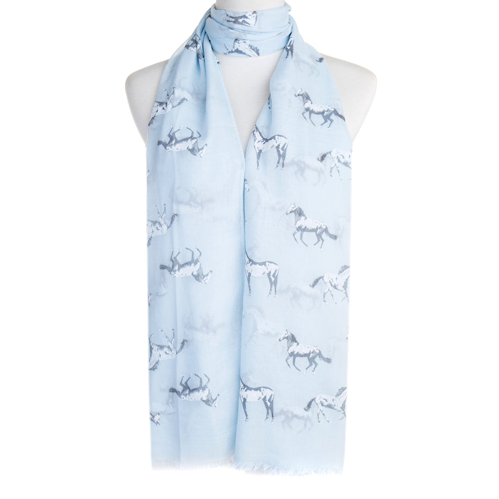 Blue with White Horses Scarf