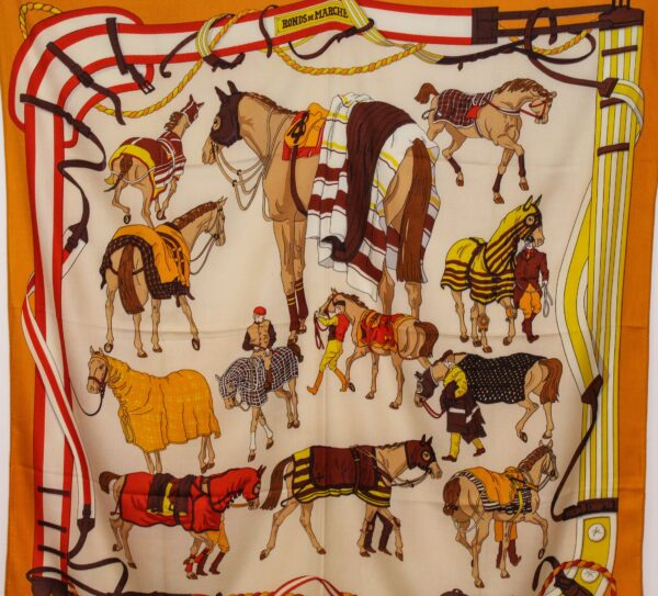 Race Horse Themed Scarf Burnt Orange
